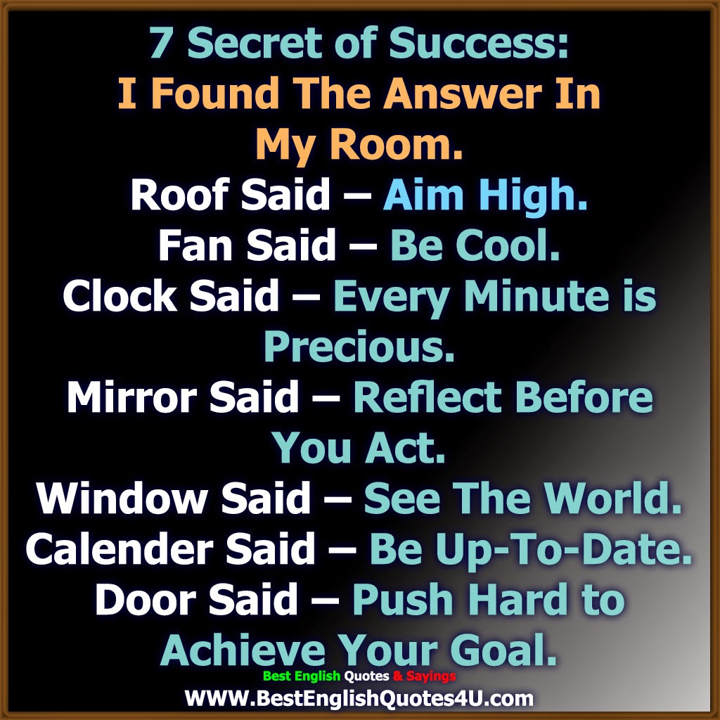 7 Secret Of Success Best English Quotes Sayings