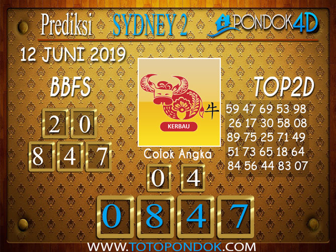 Prediksi Togel SYDNEY 2 PONDOK4D 12 JUNI 2019