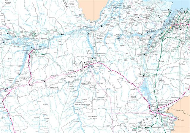 Mapa da região de Altamira - Pará