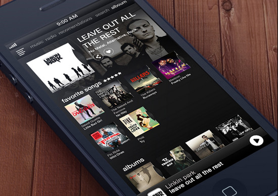 Music App Interface for iphone