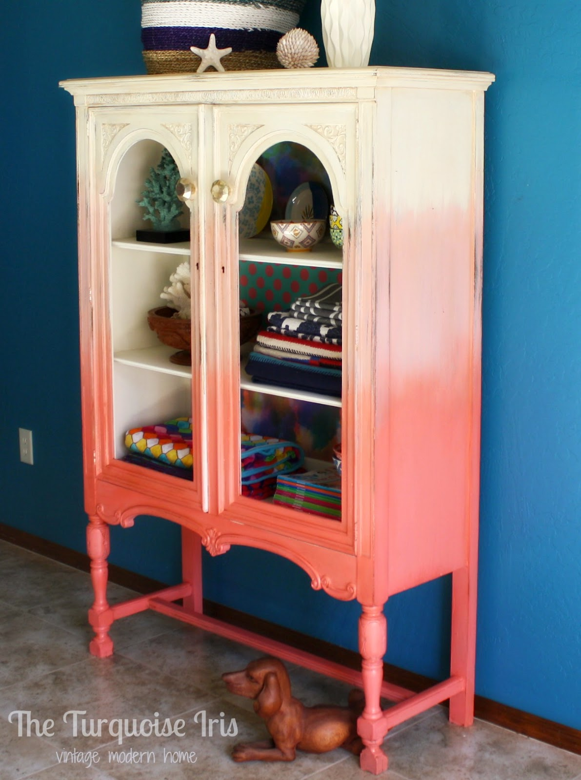 The Turquoise Iris Furniture Amp Art Coral Ombre Cabinet