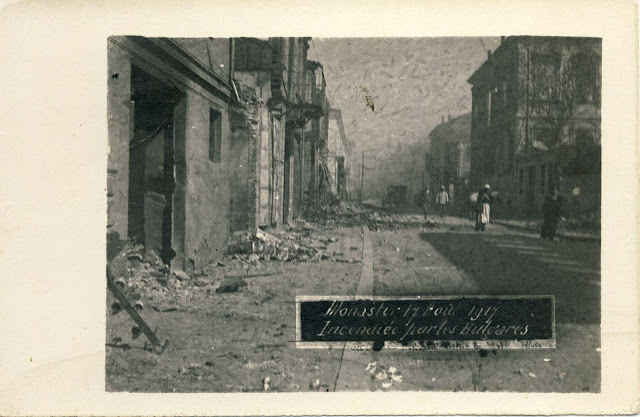 Bitola. Remnants of demolished and burnt houses after the bombing.