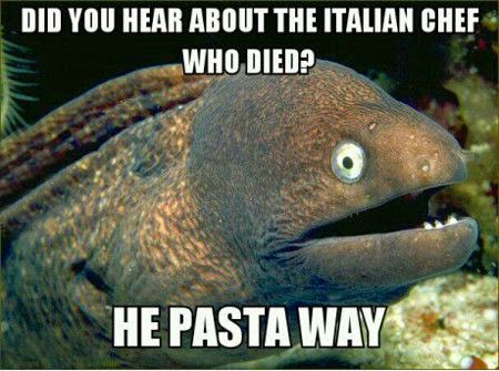 Funny Italian chef died joke pun meme picture