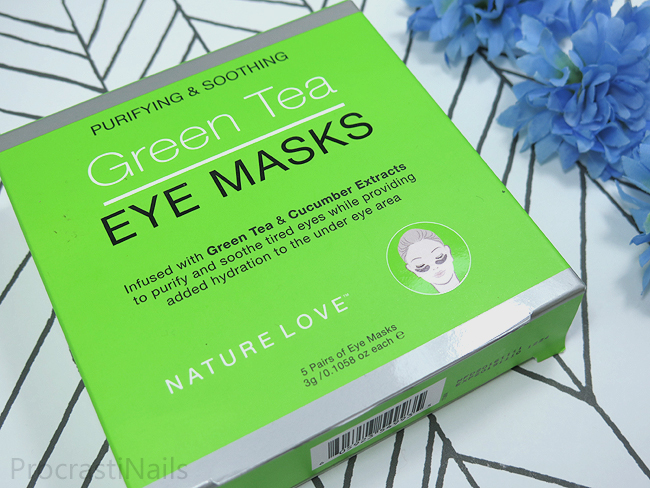 Nature Love Purifying & Soothing Green Tea Eye Masks Review