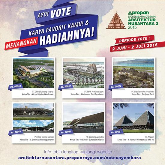 Vote untuk finalis  Sayembara Desain Arsitektur Nusantara.