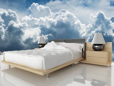 molntapet himmeltapet sovrum fototapet med moln