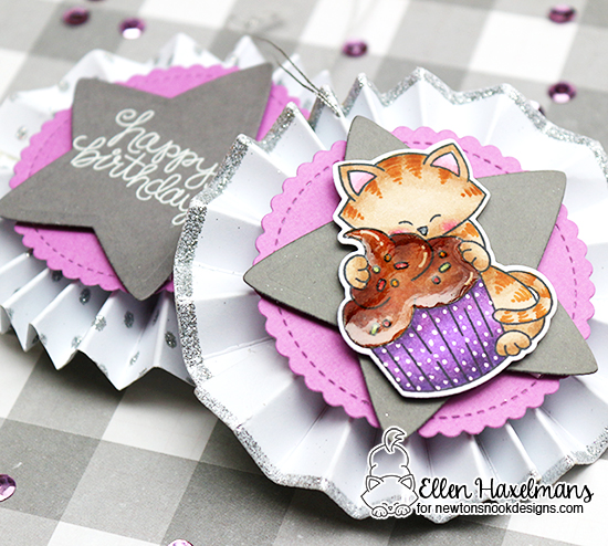 Birthday Tags with Cat by Ellen Haxelmans | Newton Loves Cake Stamp set by Newton's Nook Designs #newtonsnook
