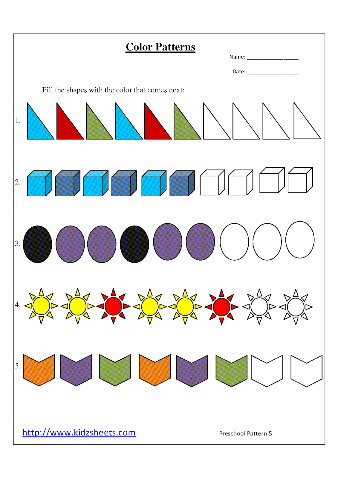 Kidz Worksheets Preschool Color Patterns Worksheet5