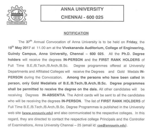 Anna University 37th Convocation Invitation