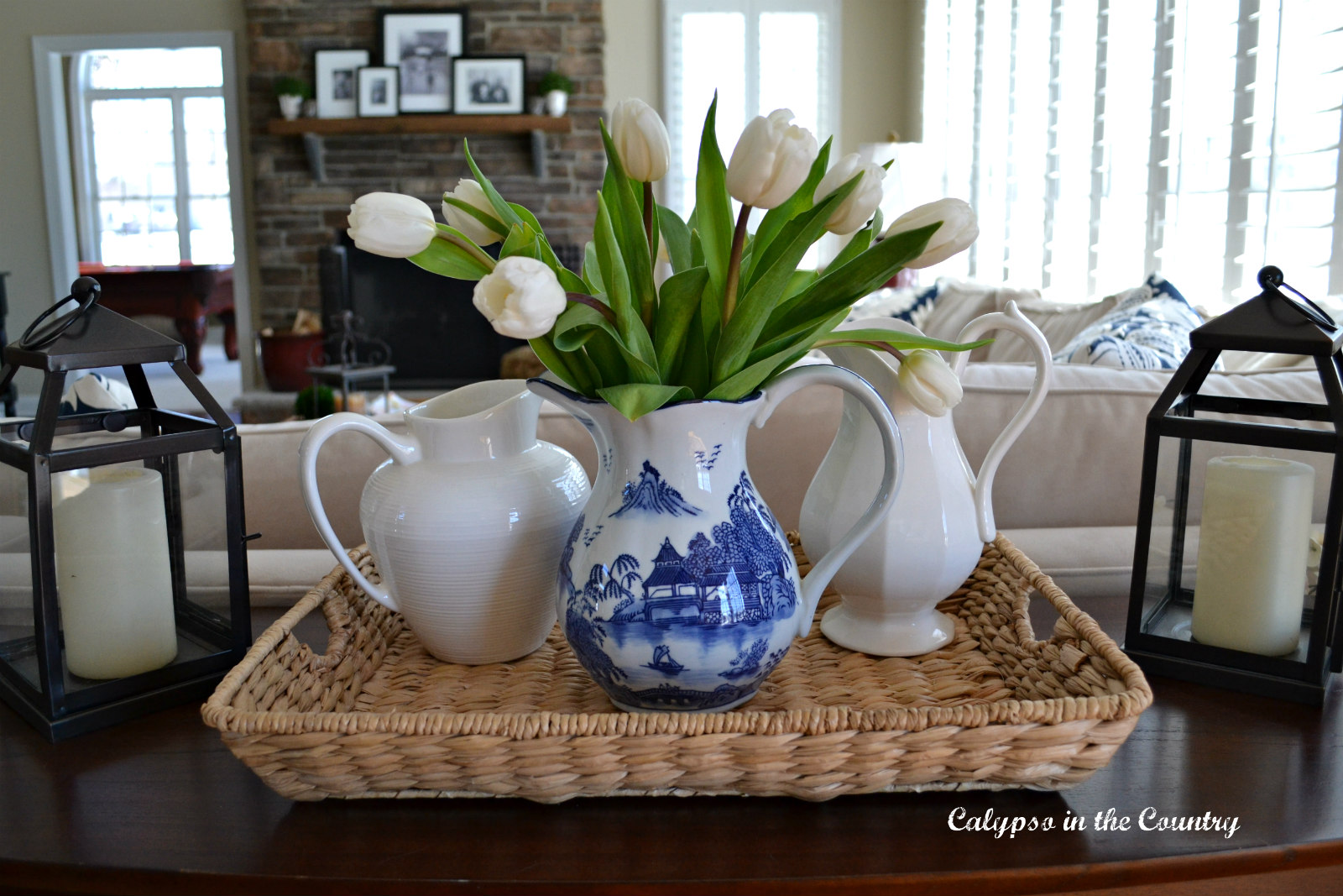 Blue and white vignette on seagrass tray