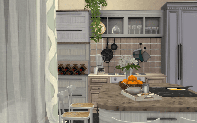cuisine en bois sims 4