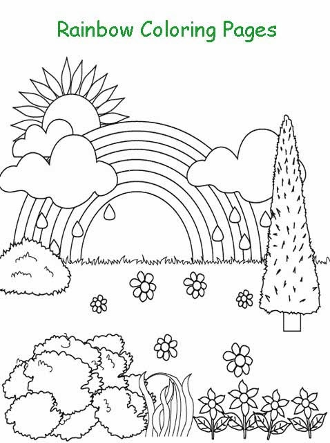Kids page rainbow coloring pages printable rainbow for Rainbow coloring page for preschool