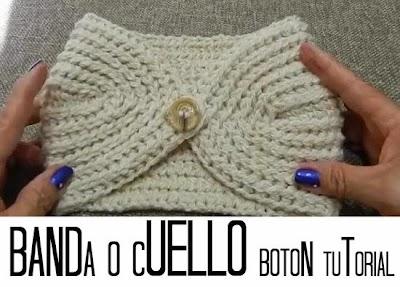 Banda-Diadema o Cuello de Crochet con Boton