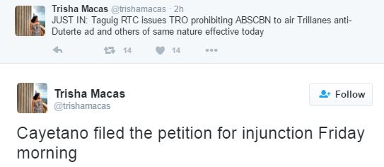 Taguig RTC releases a TRO that prohibits ABS-CBN from airing the anti-Duterte ad!