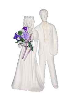 A very simple ceramic statuette of a bride and groom done is all white without details.