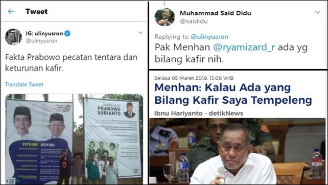 Warganet Desak Menhan Tempeleng Pendukung Jokowi yang Sebut Prabowo Keturunan Kafir