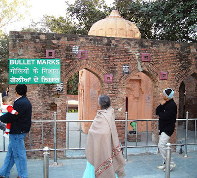 Jallianwala Bagh bullet marked wall.