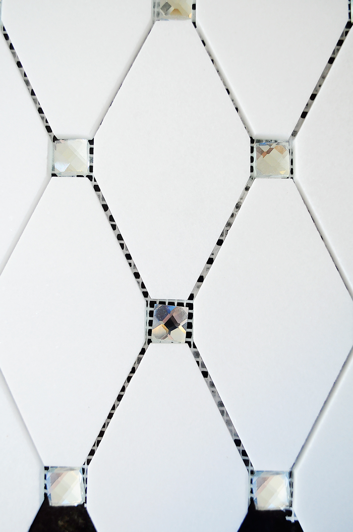 Thassos Diamond Reflection Tile for a Kitchen Backsplash Accent | via monicawantsit.com