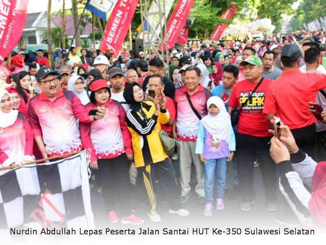 Nurdin Abdullah Lepas Peserta Jalan Santai HUT Ke-350 Sulawesi Selatan