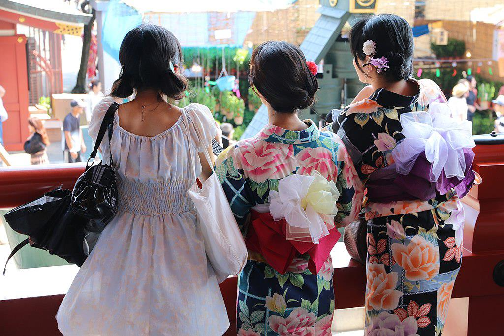 Kimono-kvinner i Tokyo