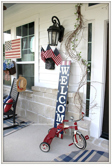 Patriotic Home Decor-4th of July-Red Tricycle-welcome Sign- Front Porch-From My Front Porch To Yours