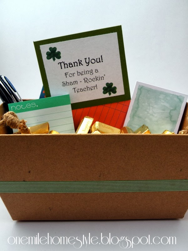 St Patrick's Day Teacher Gift - Stationary and Chocolate