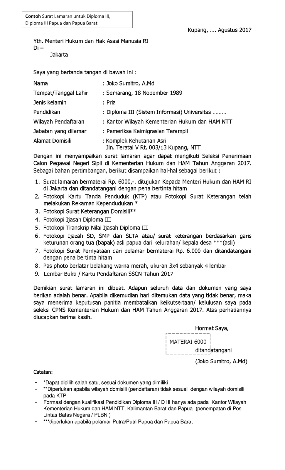 format contoh surat lamaran cpns kementerian hukum dan ham