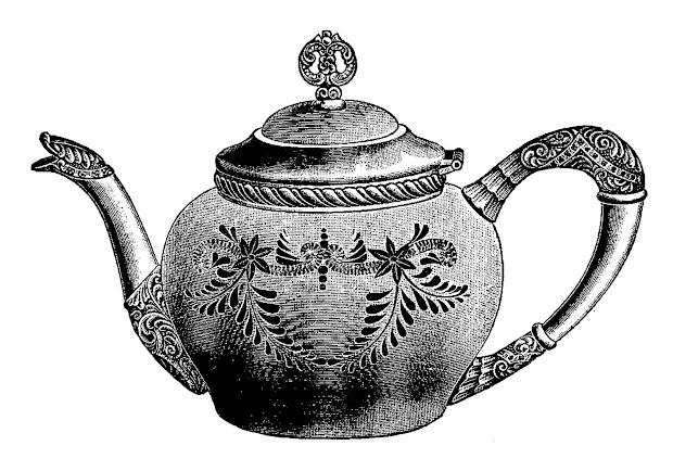 Digital Stamp Design Stock Teapot Vintage Silver