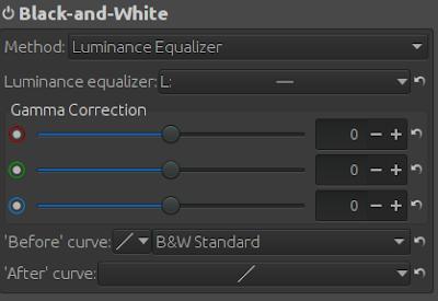 Black and white settings of RawTherapee.