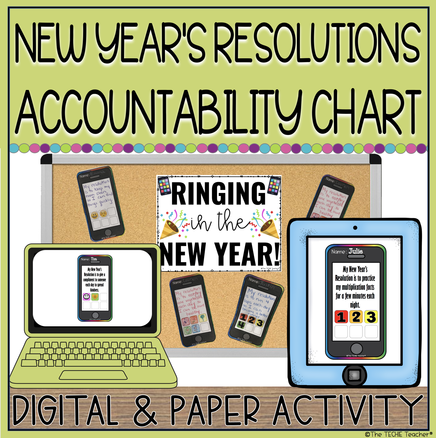 New Year's Resolutions Accountability Chart: Paper or Digital options!