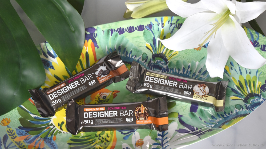 Protein Riegel Bar - Designer Bar ESN - Peanut Caramel, Cookies & Cream, Straciatella