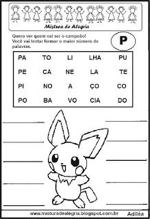 Formar palavras com a letra p