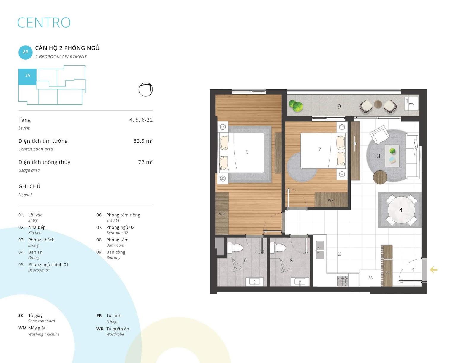 Mặt bằng căn hộ 2 phòng ngủ 77 m2 thông thủy tòa CENTRO