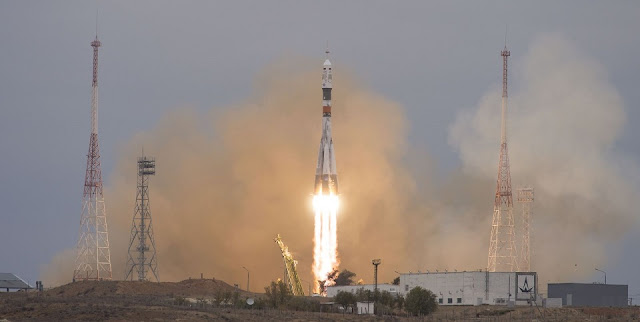 Soyuz MS-02 with the members of the International Space Station's Expedition 49 launches skyward from Baikonur Cosmodrome in Kazakhstan. Photo Credit: Joel Kowsky / NASA