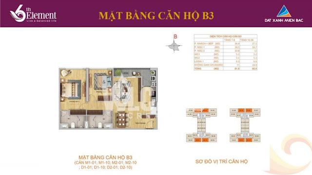 Mặt bằng căn hộ b3 chung cư 6th element
