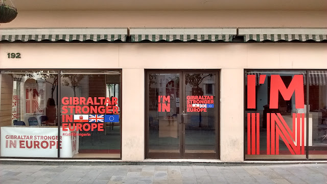 Photo of the Gibraltar Stronger in Europe campaign office on the British territory's main street. Gibraltar's population is overwhelmingly against a so-called Brexit, or departure of the UK from the European Union.
