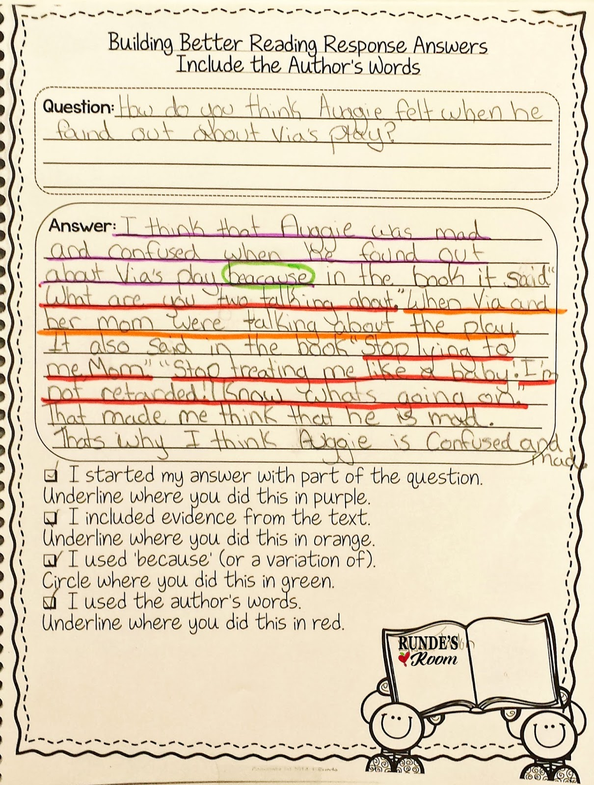 Runde S Room Reading Response Activities For Wonder