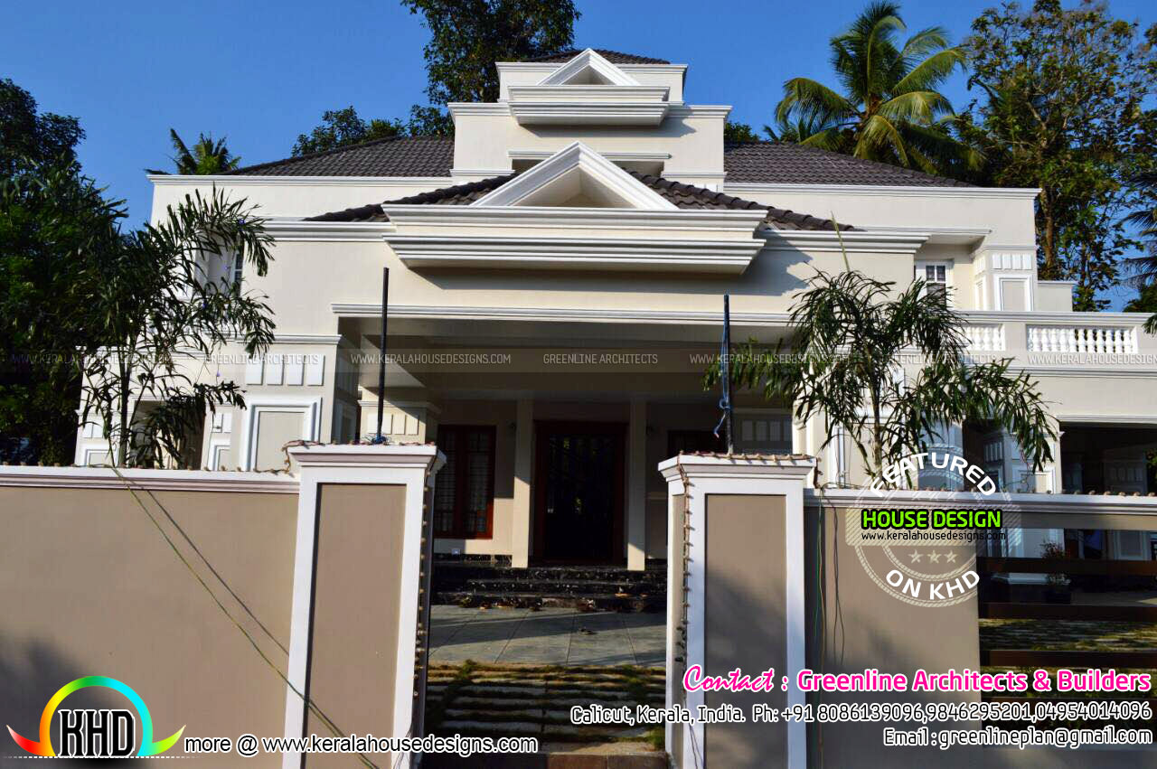 Work finished colonial style home in kerala kerala home for Colonial style house plans kerala