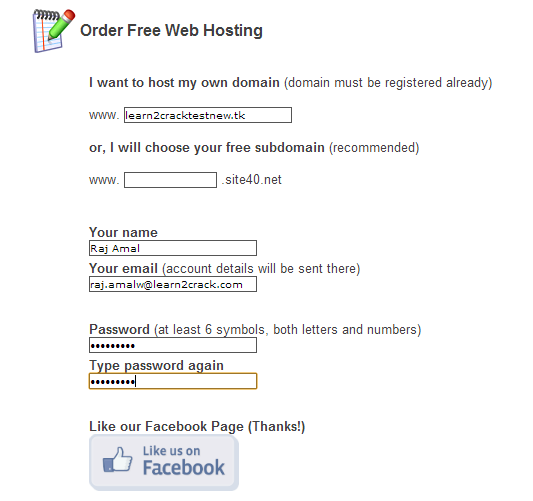 How to Register a free Domain Name and Use Free Hosting