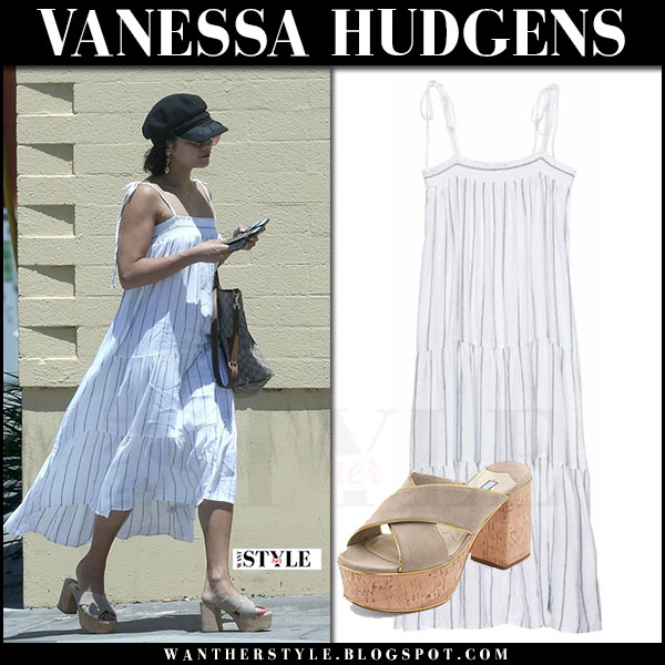 Vanessa Hudgens in white striped maxi dress rails arielle what she wore june 17 2017 streetstyle