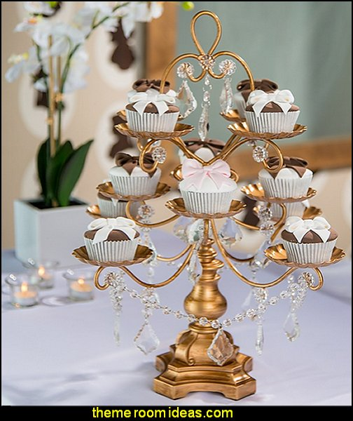 Madeleine Collection' 12 Piece Dessert Cupcake Stand Display Tower with Crystal Dangles (Gold)