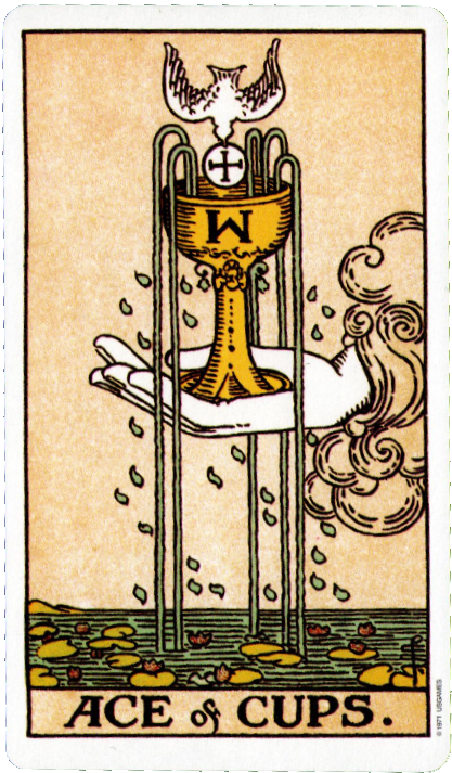 Original Rider Waite Tarot, Ace of Cups
