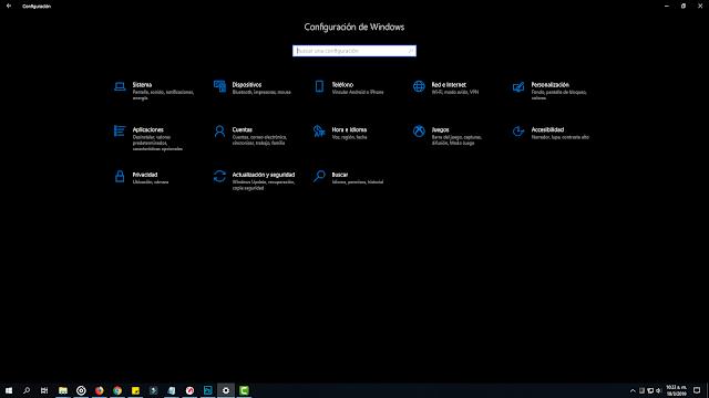 modo oscuro menu de configuracion