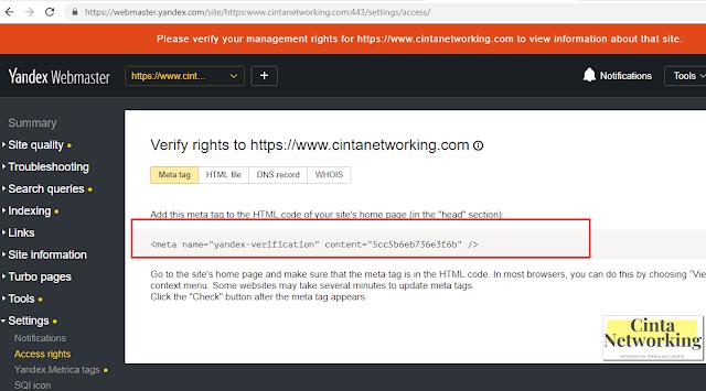 Verifikasi Yandex Webmaster - Cinta Networking