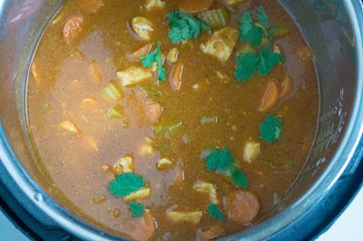 saucy curry inside electric pressure cooker
