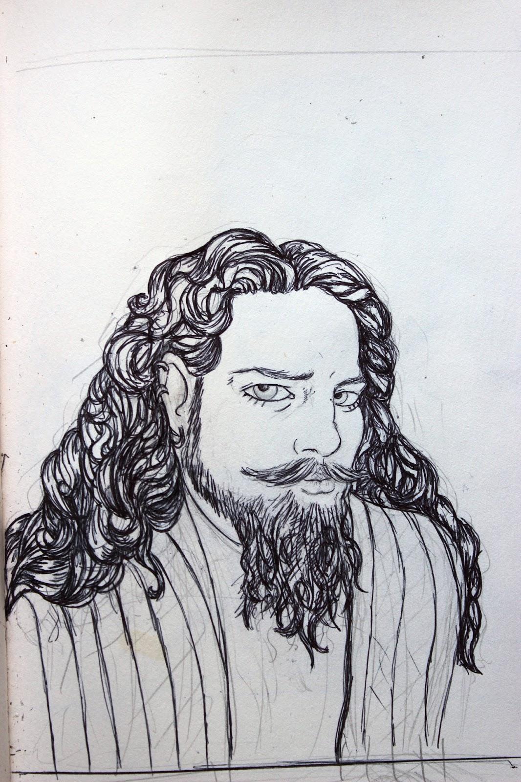 Sketchpad Notebook Sketch Drawing Pencil Portrait Pen Long Hair Beard
