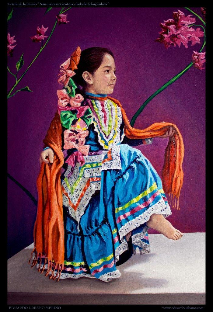 Mexican girl sitting next to a bougainvillea. Eduardo Urbano Merino 2