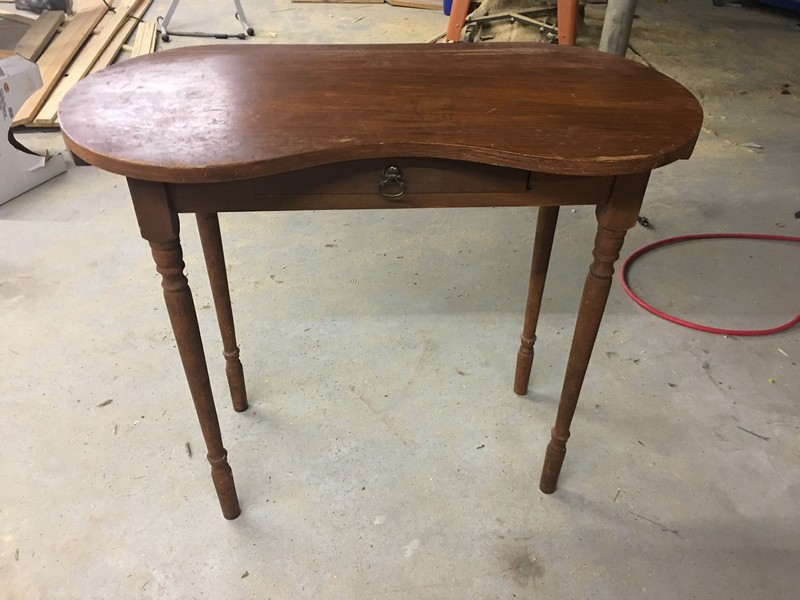 Antique Vintage Kidney Shaped Dressing Table Before - Hood Creek Log Cabin: Antique Vanity Dressing Table Makeover