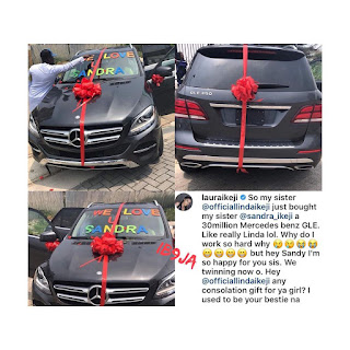Linda Ikeji Allegedly Buys  A Benz For Her Sister, Sandra