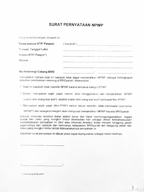 contoh surat pernyataan NPWP